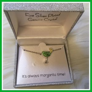 Jewelry - It's Margarita Time Margarita Glass Necklace NWT